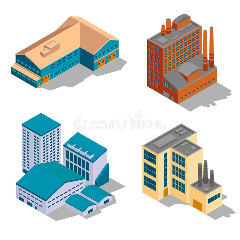 Isometric εργοστάσιο και βιομηχανικά κτήρια καθορισμένα απεικόνιση αποθεμάτων