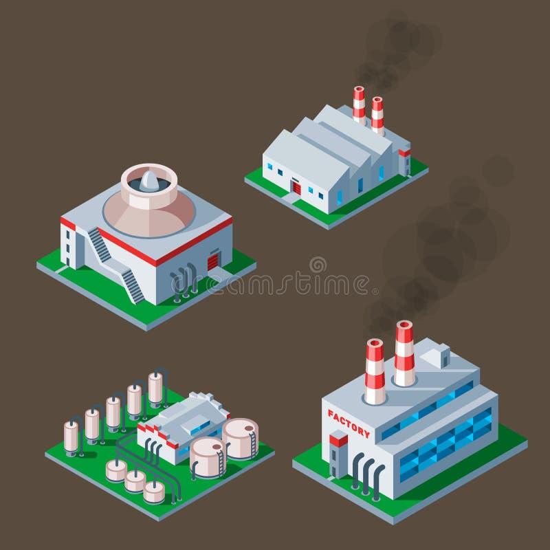Isometric εργοστασίων οικοδόμησης διανυσματική απεικόνιση σπιτιών αρχιτεκτονικής αποθηκών εμπορευμάτων στοιχείων εικονιδίων βιομη απεικόνιση αποθεμάτων