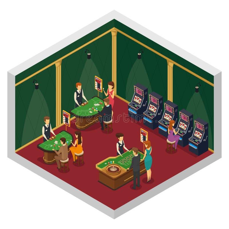 Isometric εσωτερική σύνθεση χαρτοπαικτικών λεσχών ελεύθερη απεικόνιση δικαιώματος