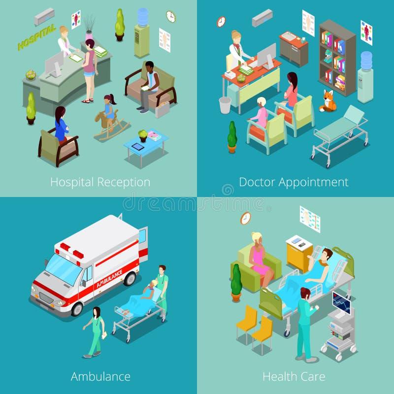 Isometric εσωτερικό νοσοκομείων Διορισμός γιατρών, υποδοχή νοσοκομείων, πρώτες βοήθειες ασθενοφόρων, υγειονομική περίθαλψη ελεύθερη απεικόνιση δικαιώματος