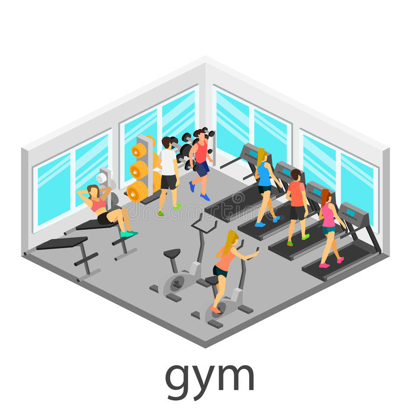 Isometric εσωτερικό της γυμναστικής στοκ φωτογραφία με δικαίωμα ελεύθερης χρήσης