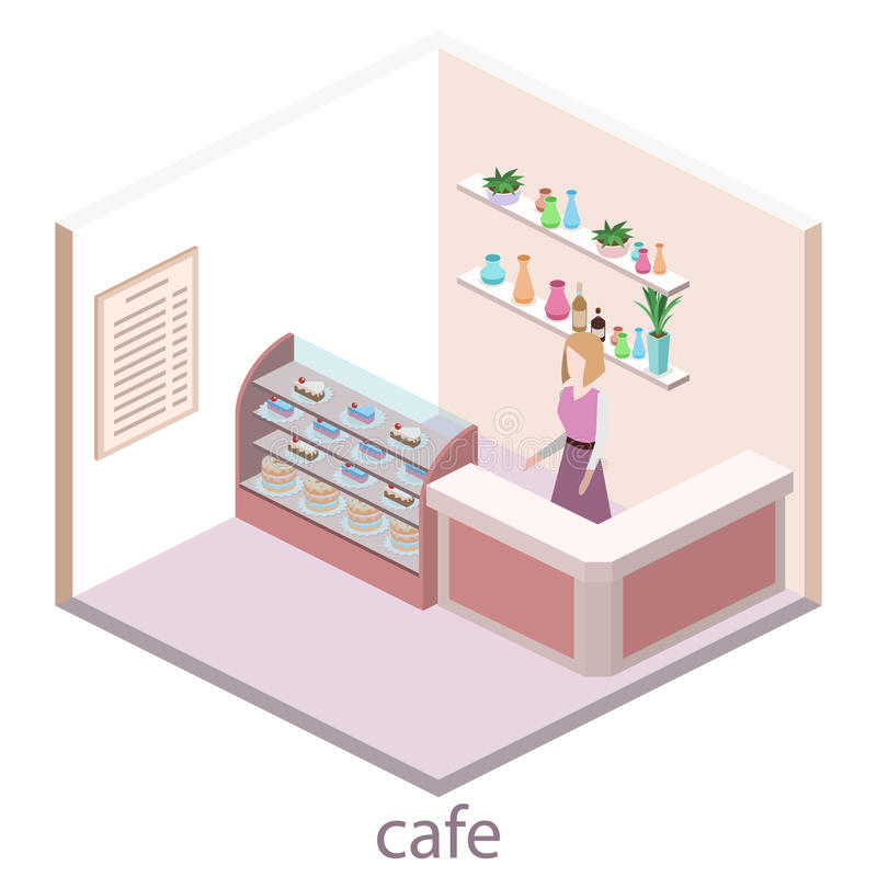 Isometric εσωτερικό του γλυκός-καταστήματος Οι άνθρωποι κάθονται στον πίνακα και την κατανάλωση απεικόνιση αποθεμάτων