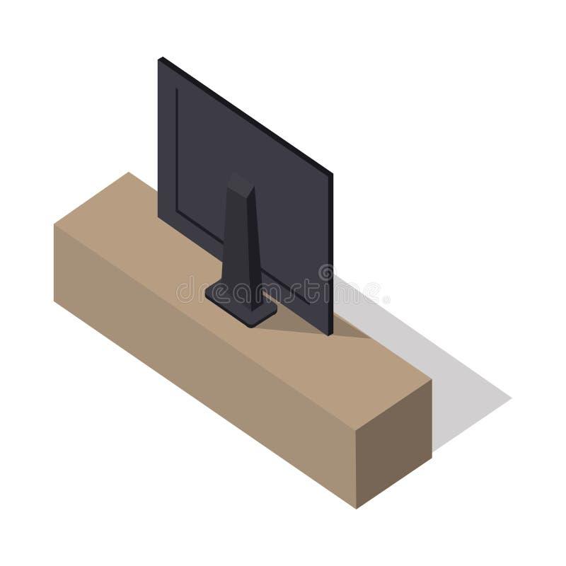 Isometric ευρεία TV οθόνης στη στάση διανυσματική απεικόνιση