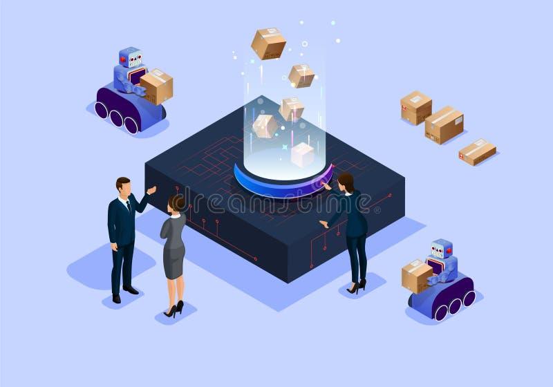 Isometric ευφυές γραφείο επιστήμης και τεχνολογίας απεικόνισης μελλοντικό ελεύθερη απεικόνιση δικαιώματος