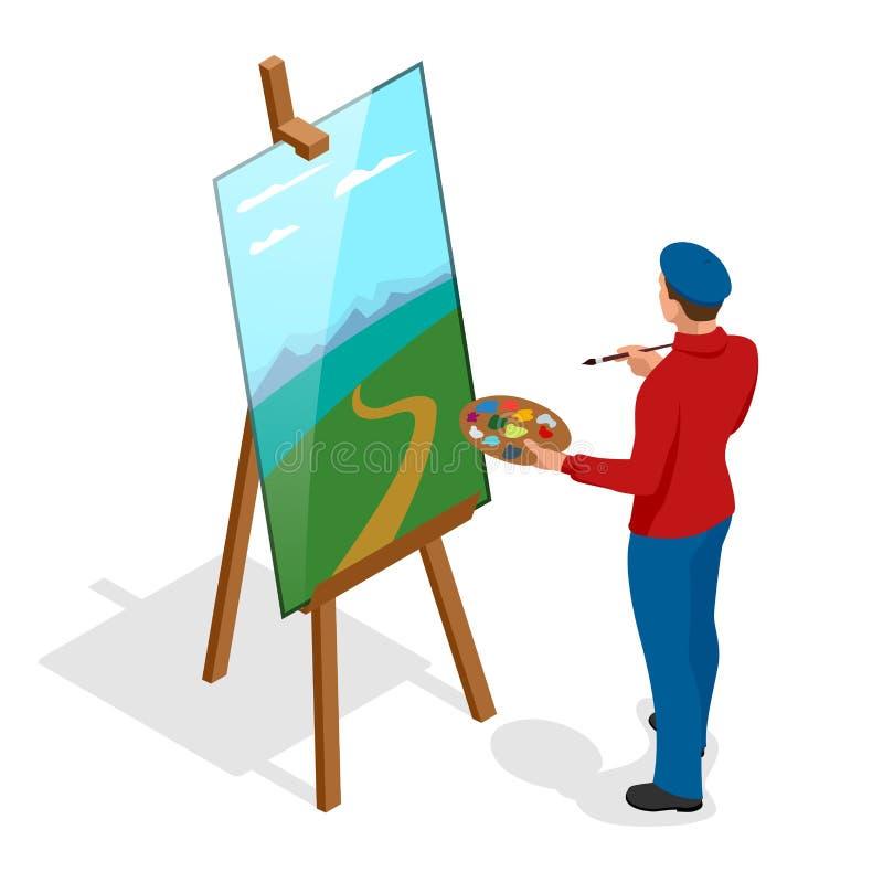 Isometric ζωγραφική καλλιτεχνών με τη ζωηρόχρωμη παλέτα που στέκεται κοντά easel Επίπεδο τρισδιάστατο infographic διανυσματικό πρ διανυσματική απεικόνιση