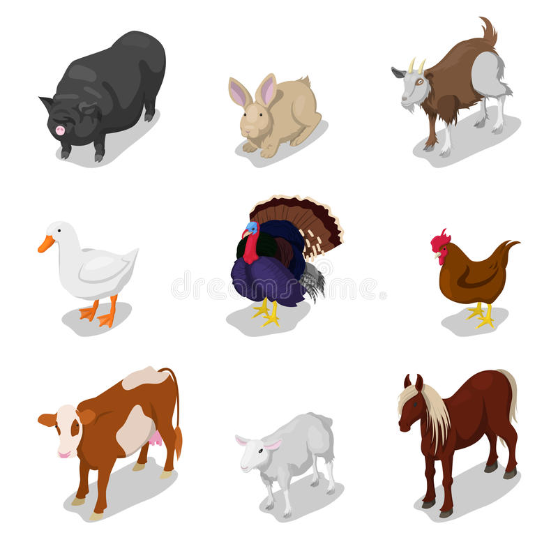 Isometric ζώα αγροκτημάτων που τίθενται με την αγελάδα, το κουνέλι, το άλογο και τη χήνα ελεύθερη απεικόνιση δικαιώματος