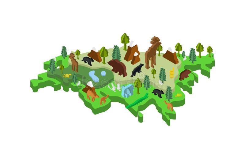 Isometric ζώο και φυτά χαρτών της Ευρασίας χλωρίδα και πανίδα στον κεντρικό αγωγό ελεύθερη απεικόνιση δικαιώματος