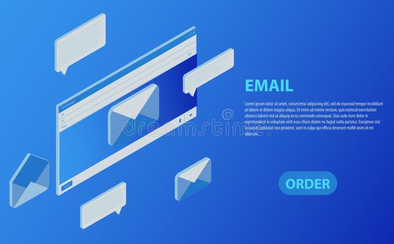 Isometric ηλεκτρονική επικοινωνία ηλεκτρονικού ταχυδρομείου Inbox Μάρκετινγκ ηλεκτρονικού ταχυδρομείου Λήψη των μηνυμάτων ελεύθερη απεικόνιση δικαιώματος