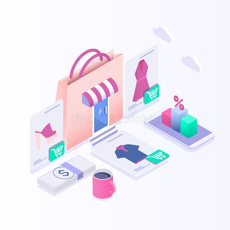 Isometric ηλεκτρονικό εμπόριο, ηλεκτρονική επιχείρηση, on-line που ψωνίζει, πληρωμή, παράδοση, διαδικασία ναυτιλίας, πωλήσεις διανυσματική απεικόνιση