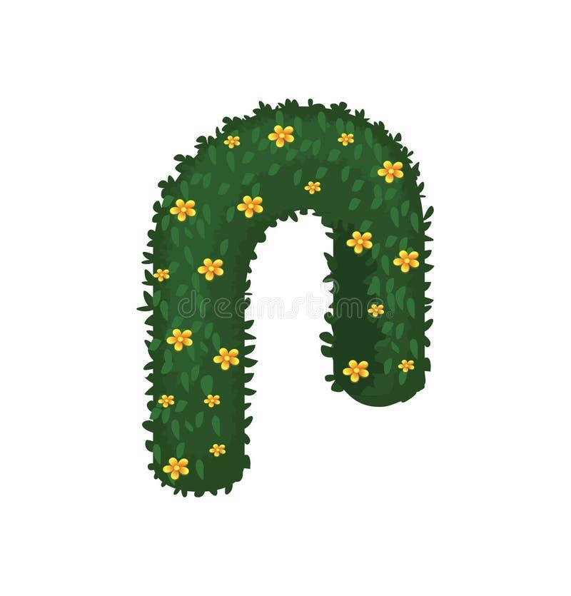 Isometric θόλος αψίδων γαμήλιας τελετής κινούμενων σχεδίων που διακοσμείται με τα κίτρινα λουλούδια Chamomile, πράσινα φύλλα ελεύθερη απεικόνιση δικαιώματος