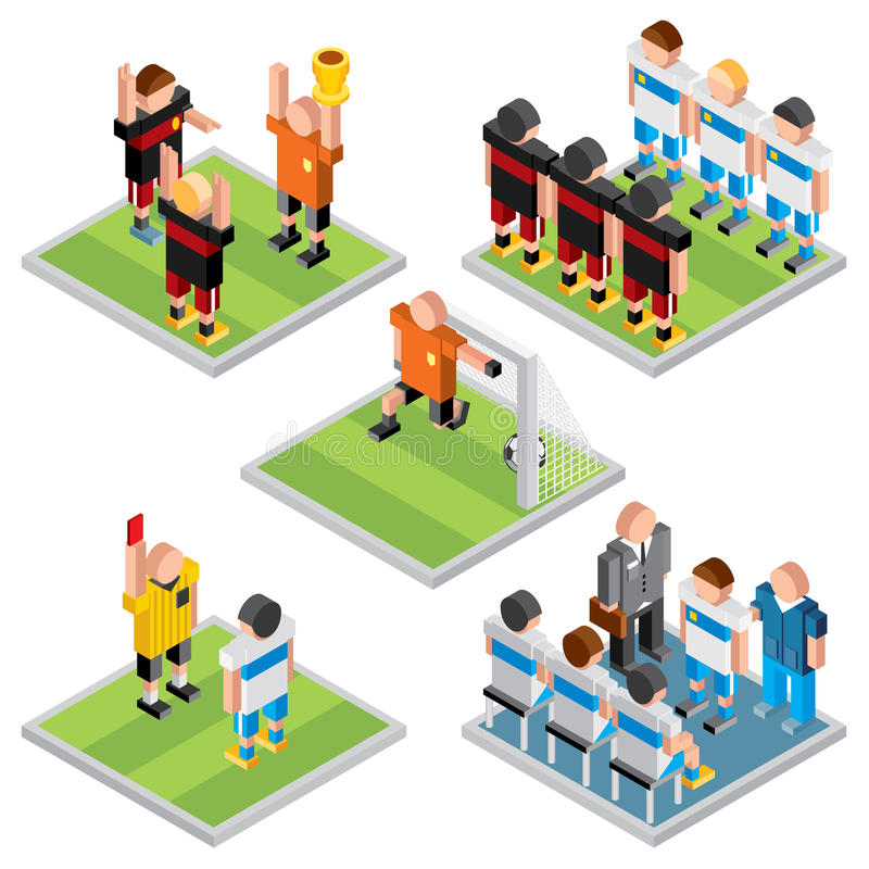 Isometric διανυσματικός αθλητισμός Καθορισμένα τρισδιάστατα εικονίδια ποδοσφαίρου σχεδίου ελεύθερη απεικόνιση δικαιώματος