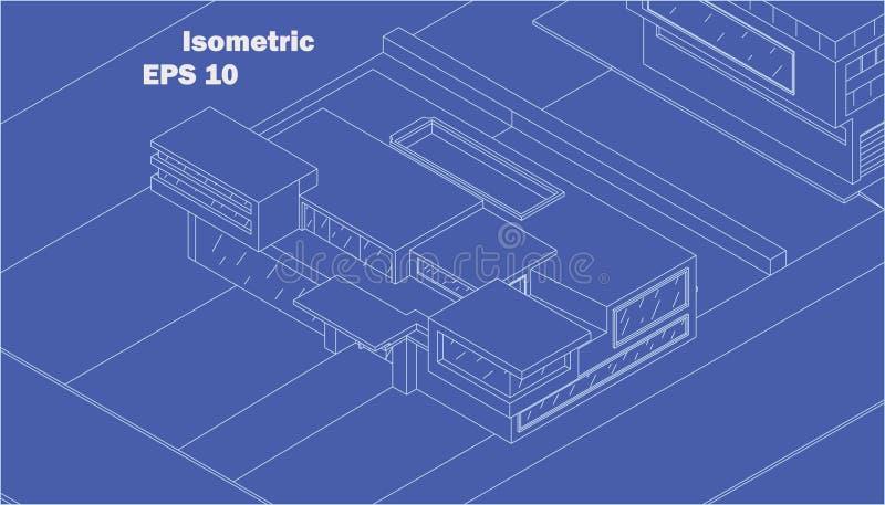 Isometric διανυσματικό σύγχρονο σπίτι στοκ εικόνες