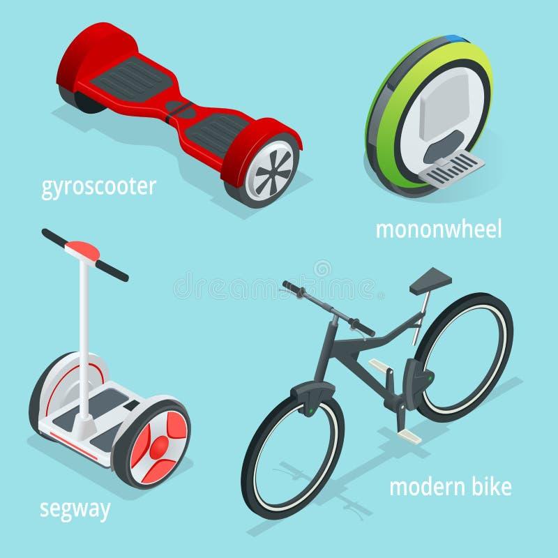 Isometric διανυσματικό σύνολο εναλλακτικής μεταφοράς Eco που απομονώνεται σε ένα μπλε υπόβαθρο Segway, Monowheel ή Solowheel απεικόνιση αποθεμάτων
