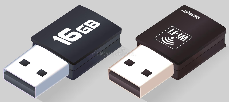 Isometric κίνηση λάμψης USB Προσαρμοστής WI-Fi Ρεαλιστικές κινήσεις μανδρών Δίσκος λάμψης Ανοιγμένα ραβδιά μνήμης που απομονώνοντ ελεύθερη απεικόνιση δικαιώματος