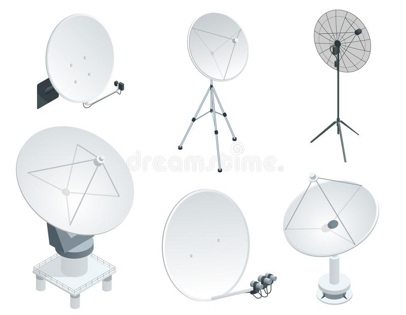 Isometric καθορισμένες δορυφορικές κεραίες πιάτων στο λευκό Ασύρματοι εξοπλισμοί επικοινωνίας διανυσματική απεικόνιση