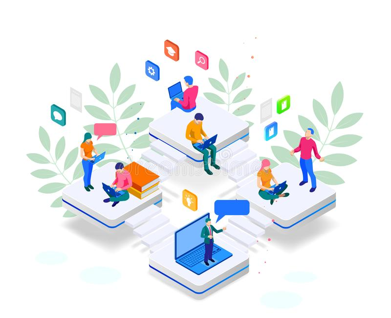 Isometric κατάρτιση εμβλημάτων Ιστού σε απευθείας σύνδεση ή εκπαίδευση και έννοια εκπαιδευτικών μαθημάτων Διαδικτύου Προσγειωμένο ελεύθερη απεικόνιση δικαιώματος