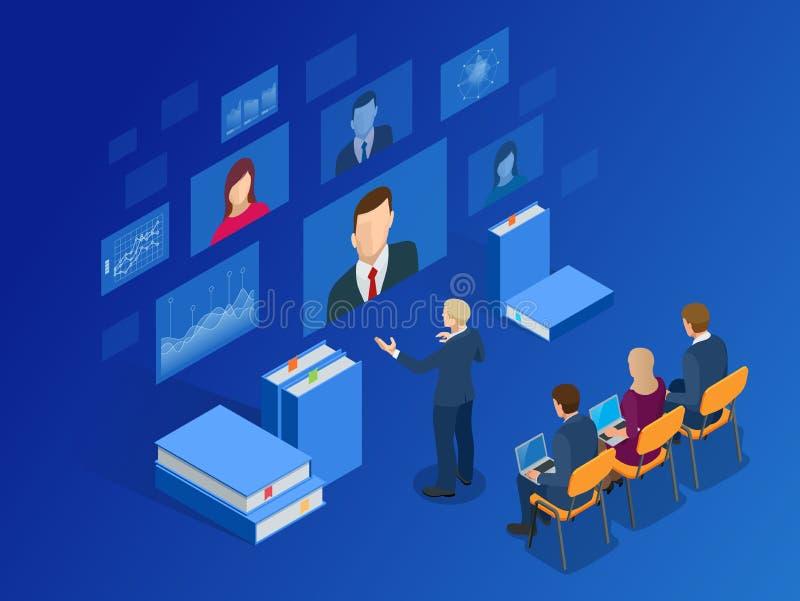 Isometric κατάρτιση, on-line που μαθαίνει, Webinar, σε απευθείας σύνδεση εκπαίδευση, επιχειρησιακή κατάρτιση Επίπεδη διανυσματική απεικόνιση αποθεμάτων