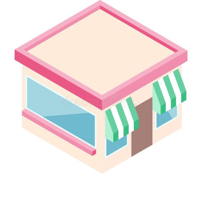 Isometric κατάστημα στο επίπεδο ύφος Διανυσματική απεικόνιση επιχειρησιακού σχεδίου για το ψηφιακό μάρκετινγκ απεικόνιση αποθεμάτων