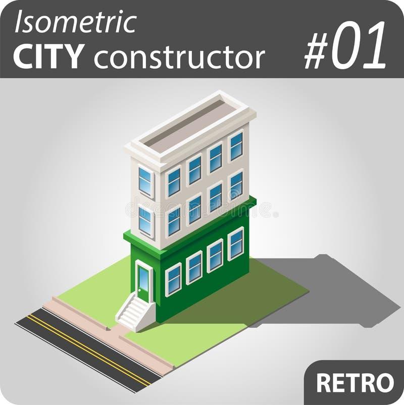 Isometric κατασκευαστής πόλεων - 01 ελεύθερη απεικόνιση δικαιώματος