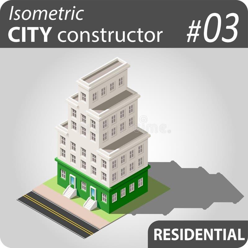 Isometric κατασκευαστής πόλεων - 03 ελεύθερη απεικόνιση δικαιώματος