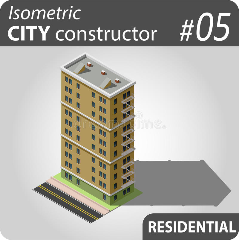 Isometric κατασκευαστής πόλεων - 05 ελεύθερη απεικόνιση δικαιώματος