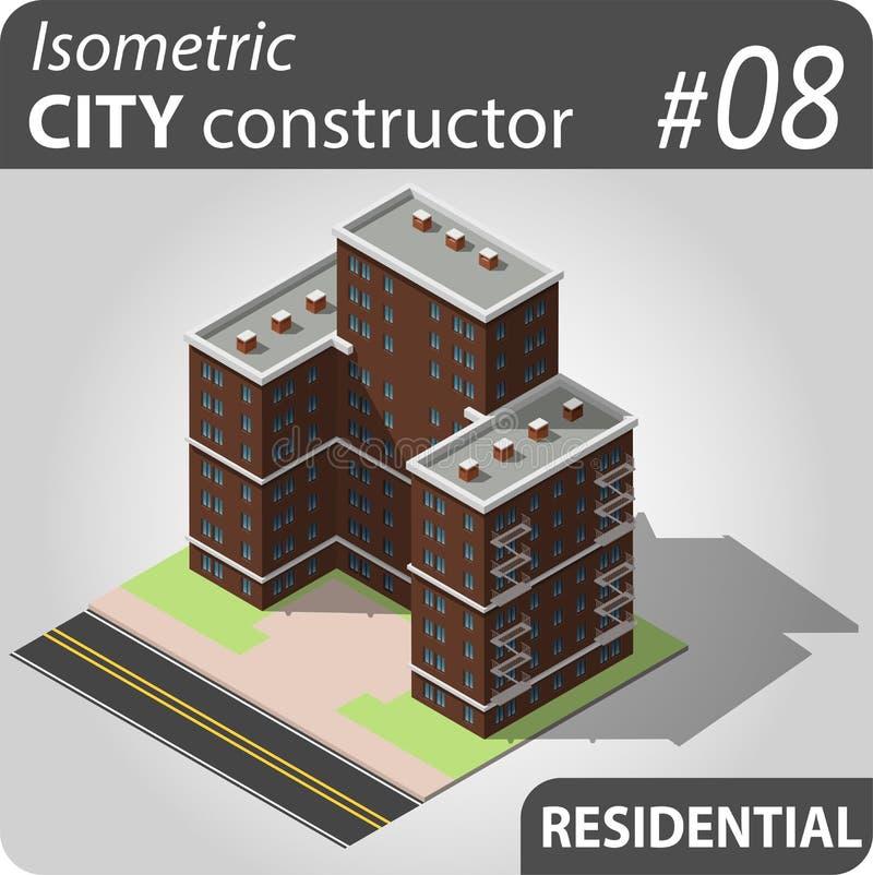 Isometric κατασκευαστής πόλεων - 08 ελεύθερη απεικόνιση δικαιώματος