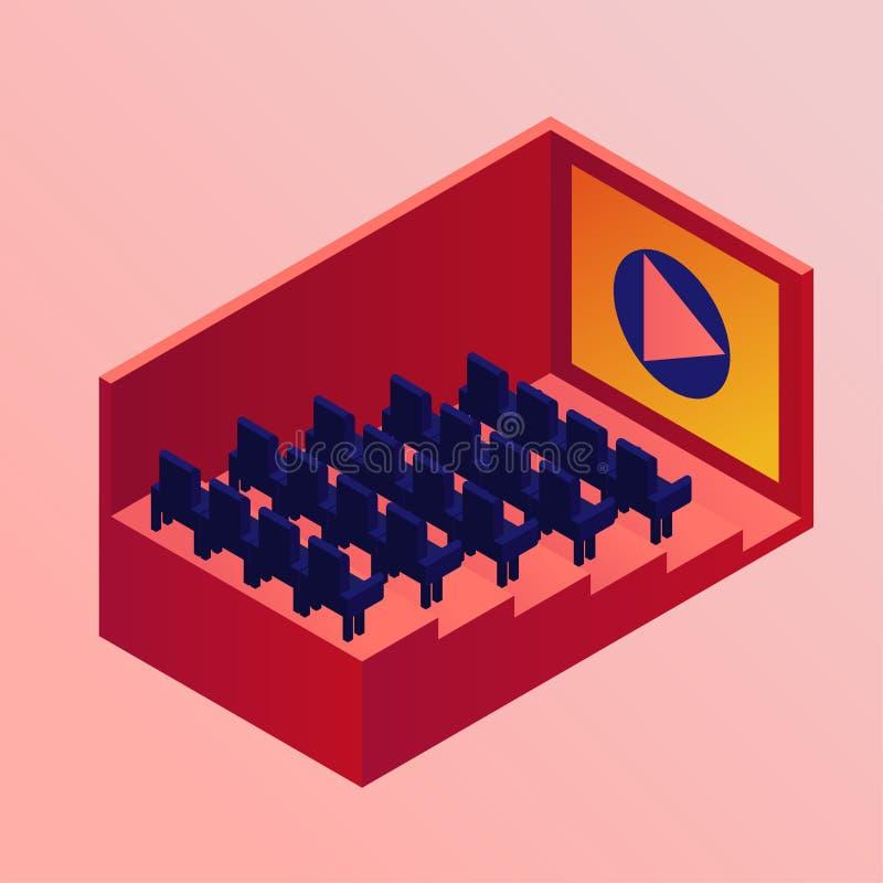 Isometric κινηματογράφος Αίθουσα κινηματογράφων με τις σειρές των καθισμάτων επίσης corel σύρετε το διάνυσμα απεικόνισης Ρόδινη α διανυσματική απεικόνιση