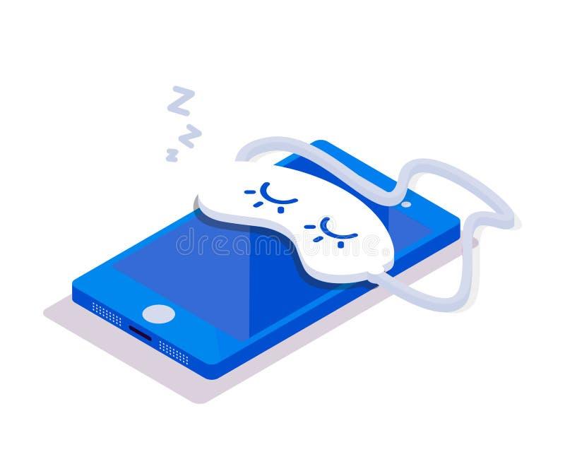 Isometric κινητός τηλεφωνικός ύπνος απεικόνιση αποθεμάτων