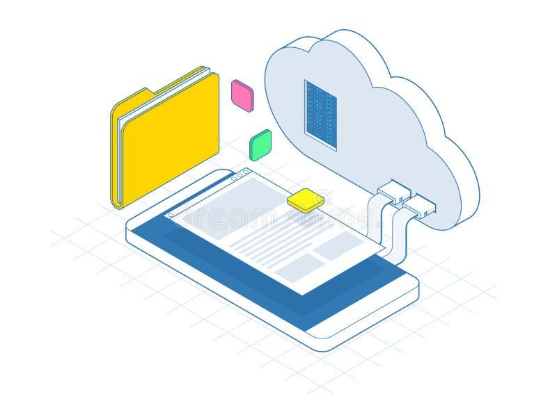 Isometric κινητό σύννεφο, αποθήκευση σύννεφων ή μεταφορές δεδομένων στην έννοια Διαδικτύου Επιχειρηματικός πόρος που προγραμματίζ διανυσματική απεικόνιση