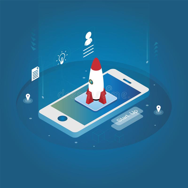 Isometric κινητό τηλέφωνο πυραύλων τεχνολογίας απεικόνιση αποθεμάτων