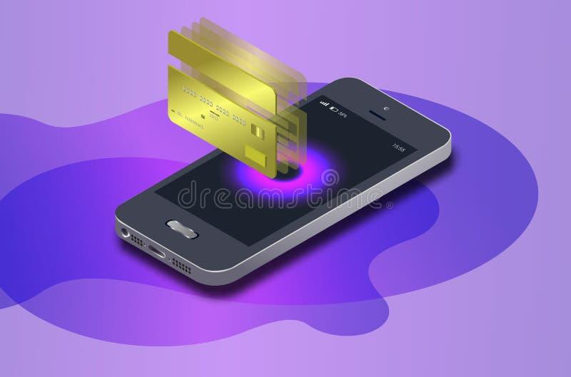 Isometric κινητό τηλέφωνο, σε απευθείας σύνδεση τραπεζικές εργασίες Διαδικτύου Το Isometric ραδιόφωνο αγορών προστασίας πληρώνει  διανυσματική απεικόνιση