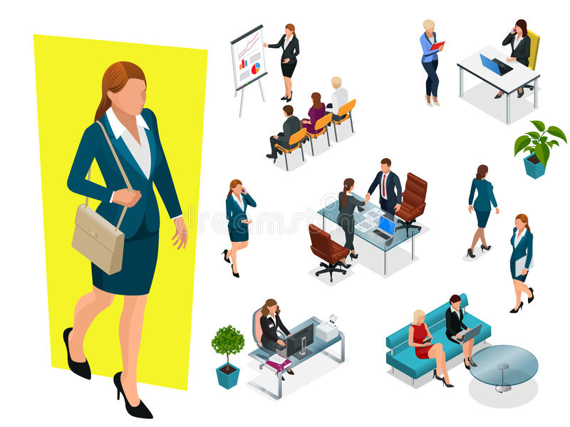 Isometric κομψές επιχειρησιακές γυναίκες στα επίσημα ενδύματα Ντουλάπα βάσεων, θηλυκός εταιρικός κώδικας ντυσίματος τρισδιάστατες απεικόνιση αποθεμάτων
