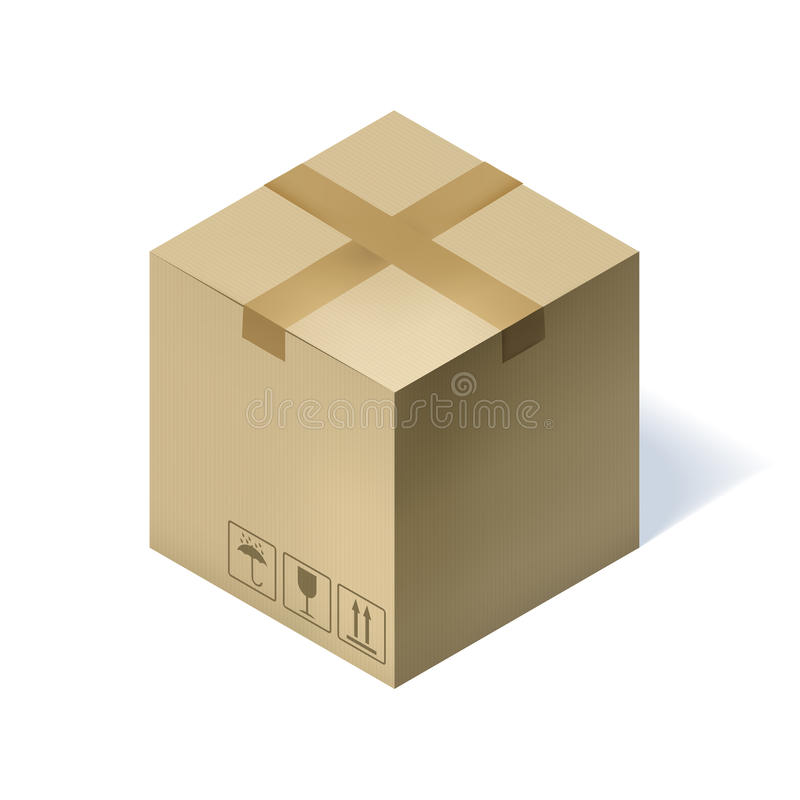 Isometric κουτί από χαρτόνι που απομονώνεται στο λευκό ελεύθερη απεικόνιση δικαιώματος