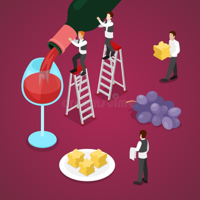 Isometric κρασί Degustation με το μπουκάλι, σταφύλι απεικόνιση αποθεμάτων