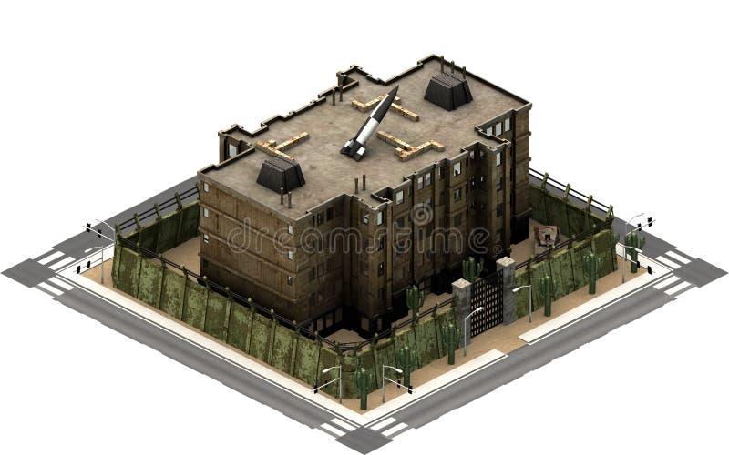 Isometric κτήρια πόλεων, φυλακή φυλακών τρισδιάστατη απόδοση ελεύθερη απεικόνιση δικαιώματος