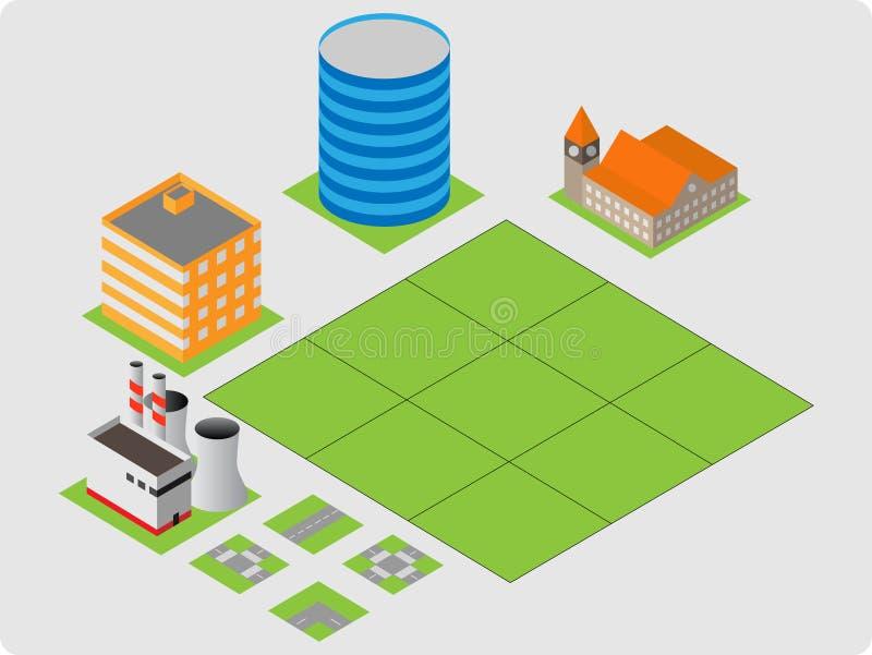 Isometric κτήρια διανυσματική απεικόνιση