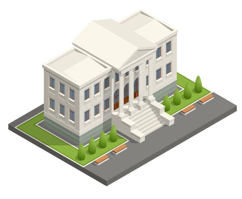 Isometric κτήριο δικαστηρίων Έννοια νόμου και δικαιοσύνης επίσης corel σύρετε το διάνυσμα απεικόνισης απεικόνιση αποθεμάτων