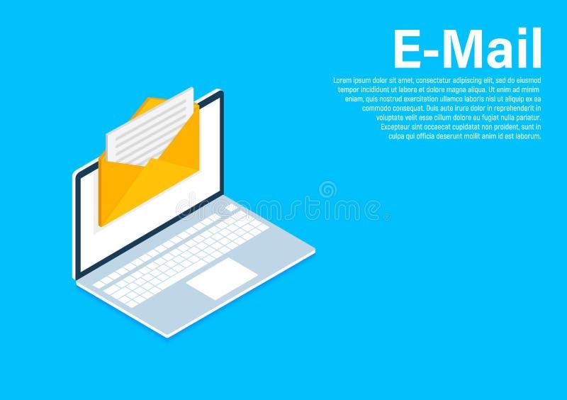 Isometric μάρκετινγκ ηλεκτρονικού ταχυδρομείου, μάρκετινγκ ενημερωτικών δελτίων, συνδρομή ηλεκτρονικού ταχυδρομείου Isometric σχέ διανυσματική απεικόνιση