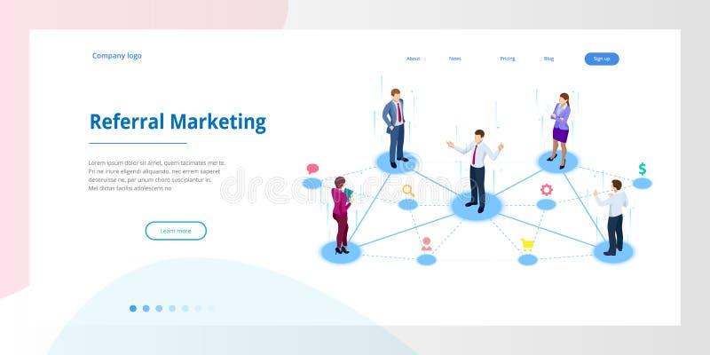 Isometric μάρκετινγκ παραπομπής, μάρκετινγκ δικτύων, στρατηγική προγράμματος παραπομπής, που παραπέμπει τους φίλους, επιχειρησιακ ελεύθερη απεικόνιση δικαιώματος