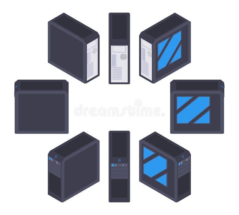 Isometric μαύρη περίπτωση PC ελεύθερη απεικόνιση δικαιώματος