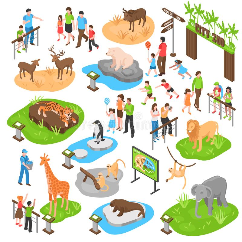 Isometric μεγάλο σύνολο ζωολογικών κήπων ελεύθερη απεικόνιση δικαιώματος