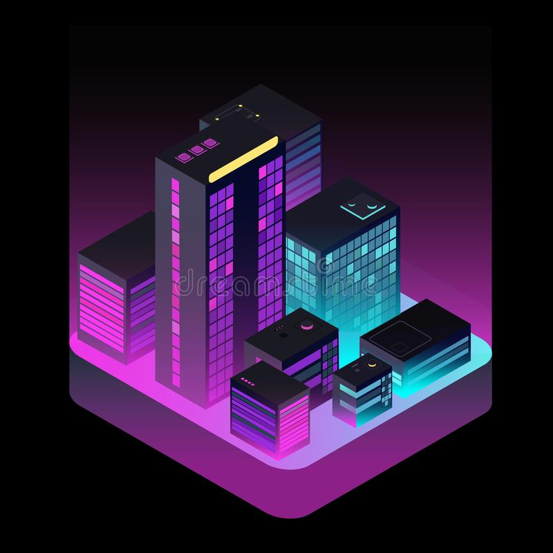 Isometric μελλοντική πόλη Βιομηχανικά κτίρια γραφείων κατά την εναέρια άποψη Διανυσματική έννοια πραγματικού estatet και εικονική ελεύθερη απεικόνιση δικαιώματος