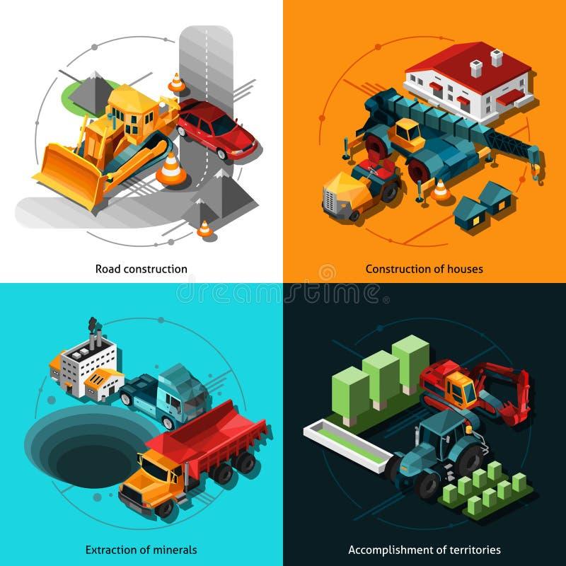 Isometric μηχανές κατασκευής διανυσματική απεικόνιση