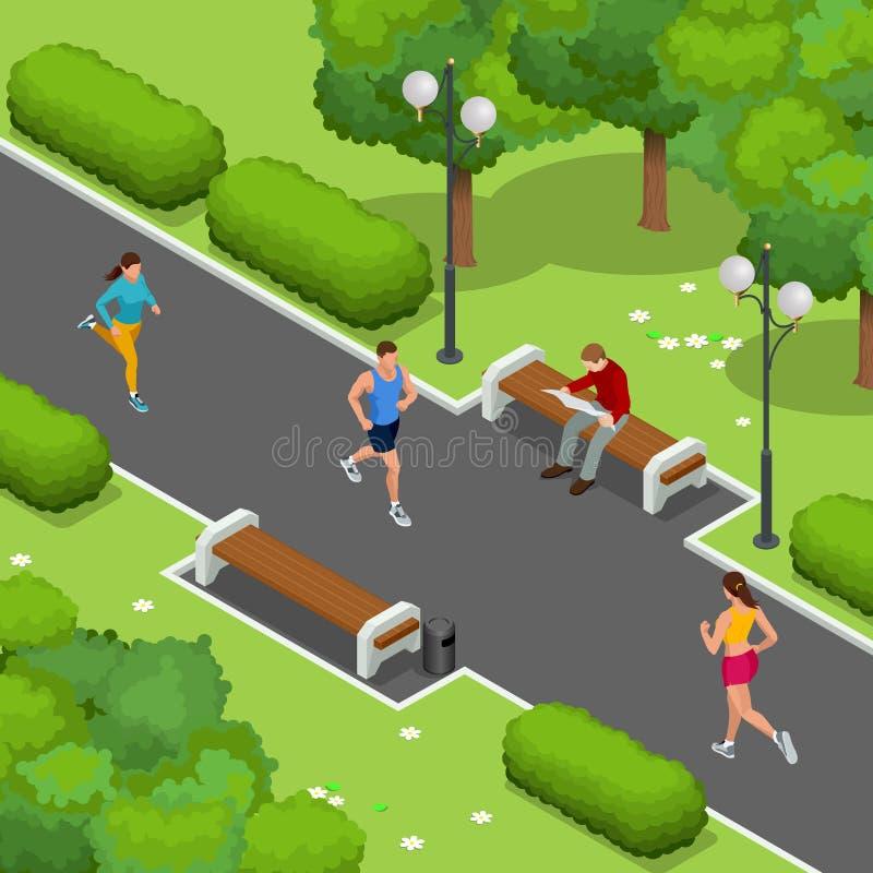 Isometric νέοι δρομείς γυναικών και ανδρών που τρέχουν σε ένα πάρκο πόλεων Αθλητικοί άνθρωποι που εκπαιδεύουν σε μια αστική περιο διανυσματική απεικόνιση