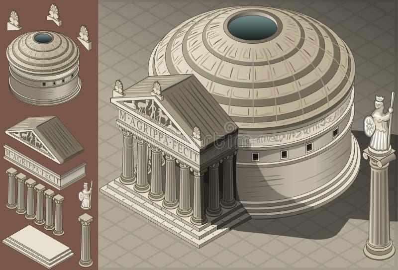Isometric ναός Pantheon στη ρωμαϊκή αρχιτεκτονική ελεύθερη απεικόνιση δικαιώματος