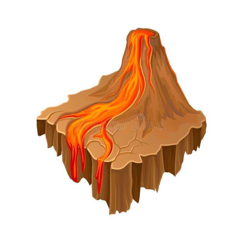 Isometric νησί ηφαιστείων με την καυτή ρέοντας λάβα Ζωηρόχρωμο τοπίο κινούμενων σχεδίων Διανυσματικό στοιχείο για το παιχνίδι φαν διανυσματική απεικόνιση