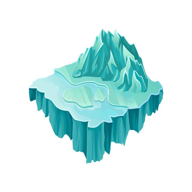 Isometric νησί πάγου με το μεγάλες παγωμένες βουνό και τη λίμνη Ζωηρόχρωμη πετώντας πλατφόρμα Διανυσματικό lement για τον υπολογι απεικόνιση αποθεμάτων