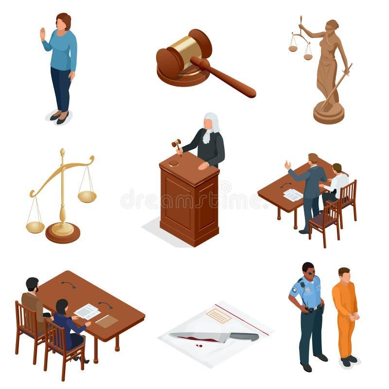 Isometric νόμος και δικαιοσύνη Σύμβολα των νομικών κανονισμών Δικαστικά εικονίδια καθορισμένα Νομικοί δικαστικός, δικαστήριο και  ελεύθερη απεικόνιση δικαιώματος