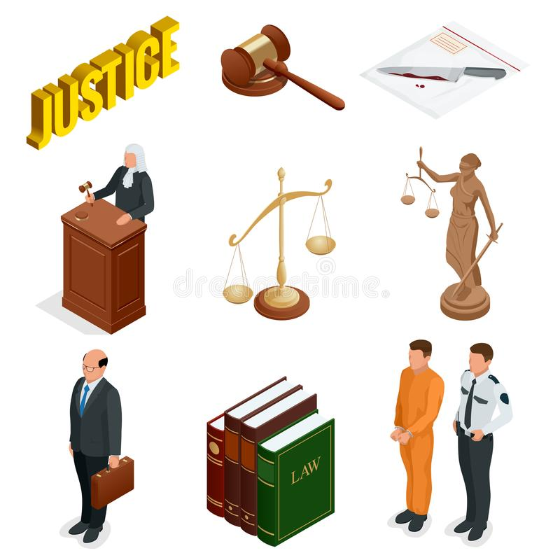 Isometric νόμος και δικαιοσύνη Σύμβολα των νομικών κανονισμών Δικαστικά εικονίδια καθορισμένα Νομικοί δικαστικός, δικαστήριο και  διανυσματική απεικόνιση