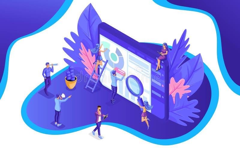 Isometric ομάδα των ειδικών που εργάζονται στην ψηφιακή προσγειωμένος σελίδα εμπορικής στρατηγικής Ψηφιακό μάρκετινγκ επίσης core ελεύθερη απεικόνιση δικαιώματος